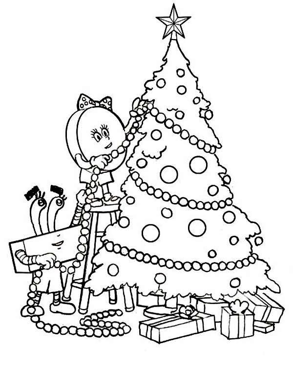 Christmas, : Decorating a Christmas Tree on Christmas Coloring Page