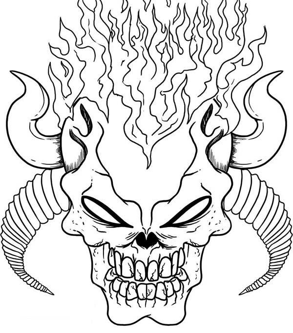 Skull, : Demonic Skull Coloring Page