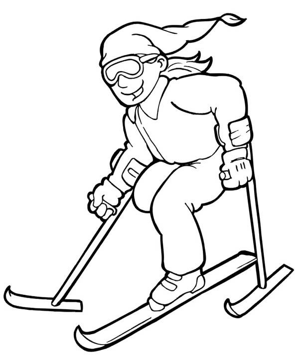 Skiing, : Disabled Skiing Coloring Page