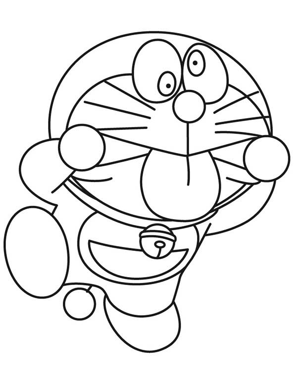 Silly Face, : Doraemon Making Silly Face Coloring Page