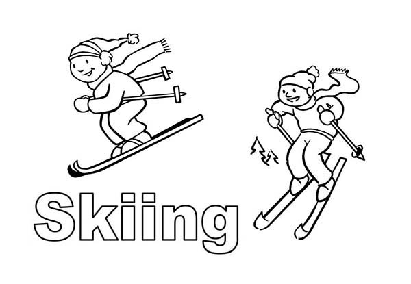 Skiing, : Drawing People Skiing Coloring Page