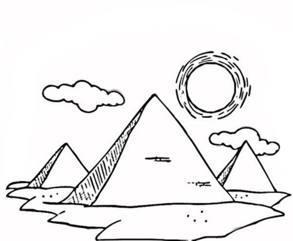 Pyramid, : Drawing Three Great Pyramid Coloring Page