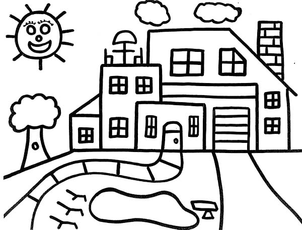 School House, : Drawing a School House Coloring Page