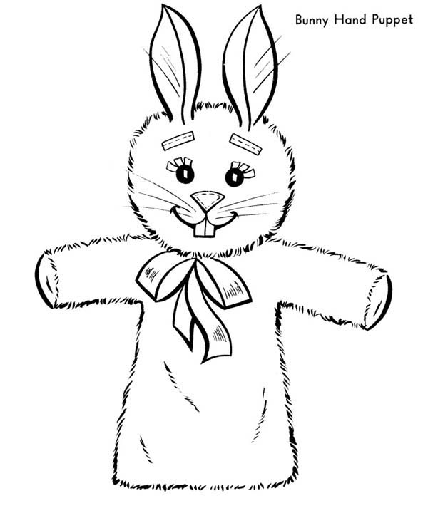 Puppet, : Easter Bunny Hand Puppet Coloring Page