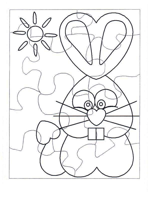 Puzzles, : Easter Bunny Puzzles Coloring Page
