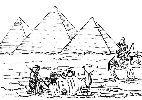 Pyramid, : Egyptian Passing in Front of Pyramid Coloring Page