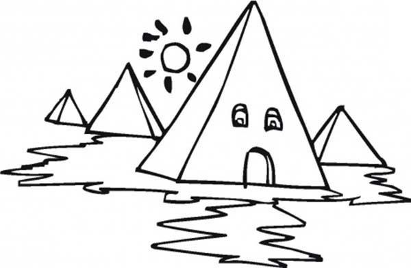 Pyramid, : Egyptian Pyramid Coloring Page