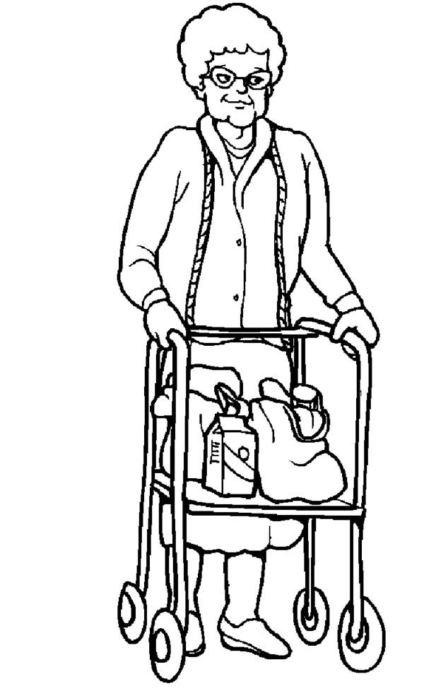 People, : Elder People Need Our Help Coloring Page