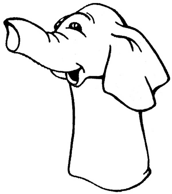 Puppet, : Elephant Puppet Coloring Page
