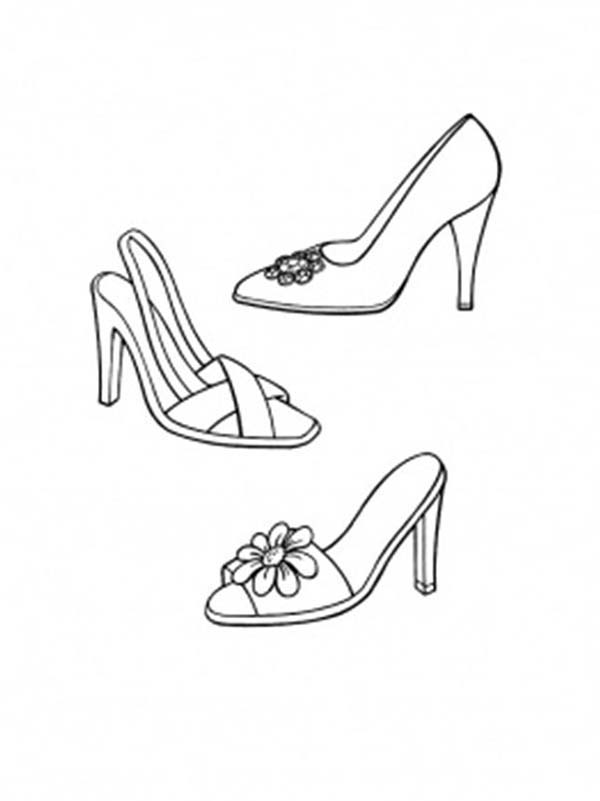 Shoes, : Evening Shoes Coloring Page