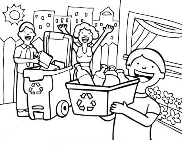 Recycling, : Family Learn the Use of Recycling Coloring Page