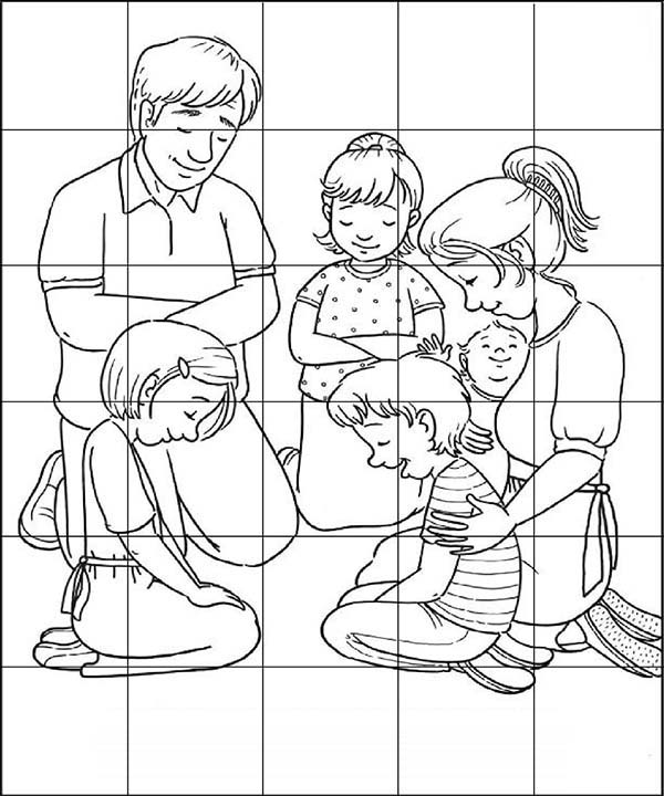 Puzzles, : Family Praying Puzzles Coloring Page
