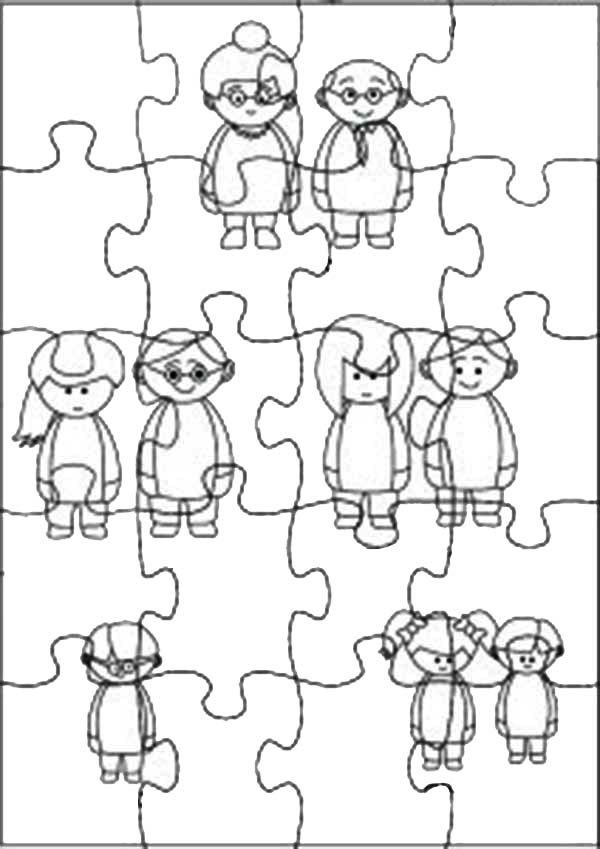 Puzzles, : Family Theme Jigsaw Puzzles Coloring Page