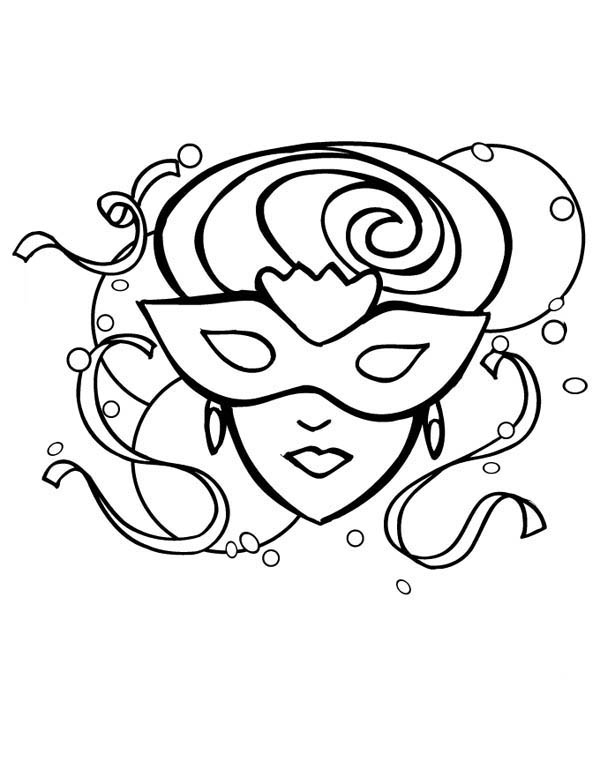 Fantasy Girl Mardi Gras Mask Coloring Page Coloring Sky