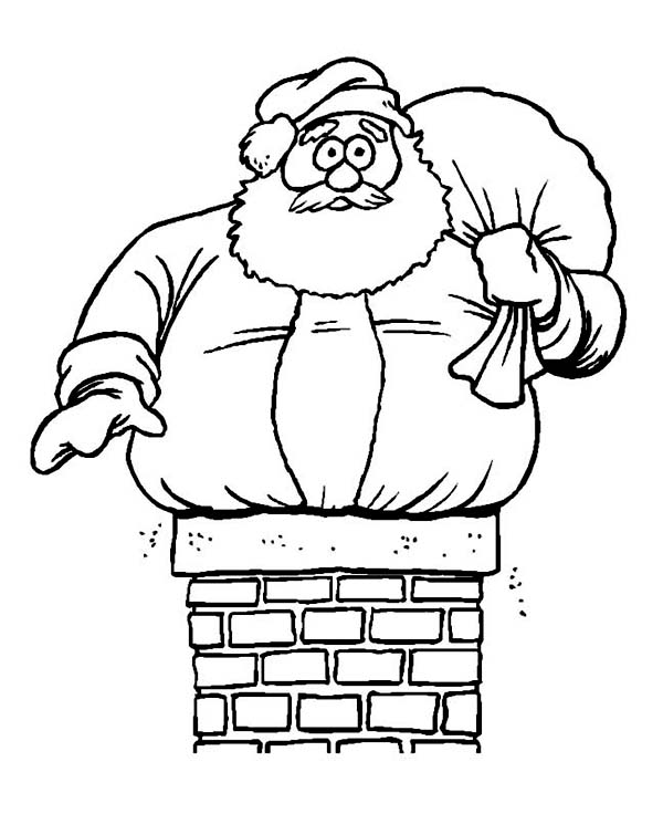 fat santa claus in trouble on christmas coloring page