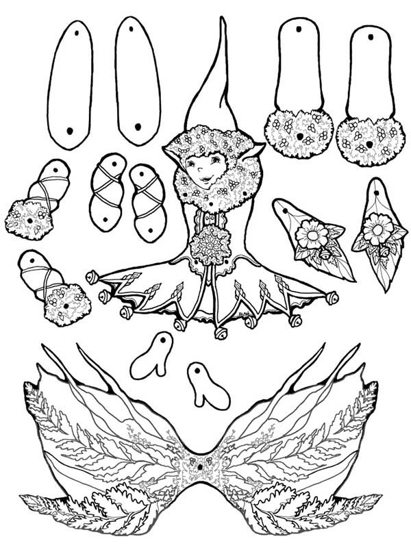 Puppet, : Fern Feather Elf Puppet Part Coloring Page
