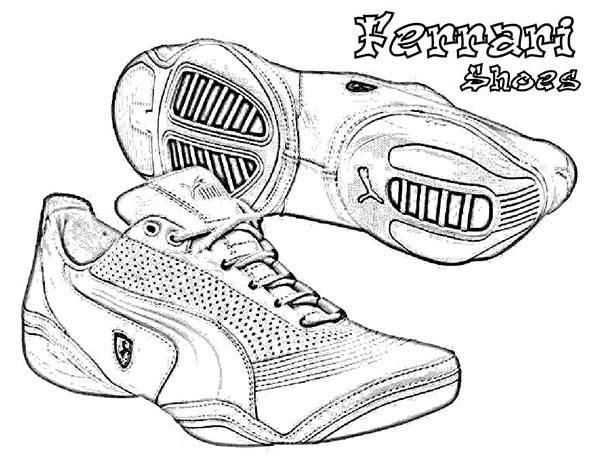 Shoes, : Ferrari Shoes Coloring Page
