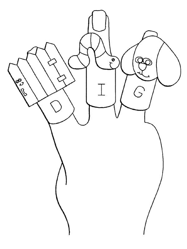 Puppet, : Finger Puppet Coloring Page