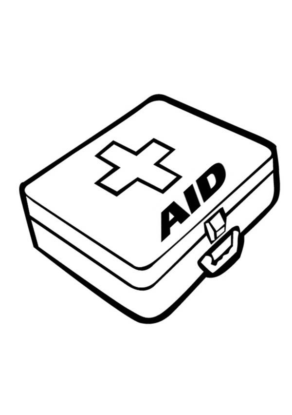 First Aid Kit Is One Of Medical Tools Coloring Page