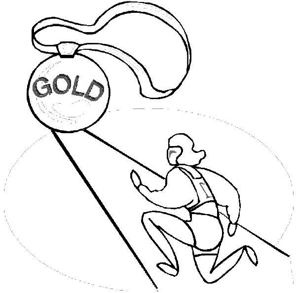 Olympic Games, : First Place Olympic Games Winner Won a Gold Medal Coloring Page