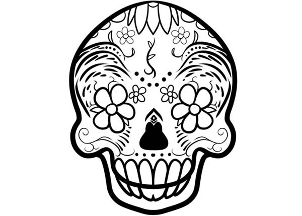 Skull, : Floral Skull Coloring Page