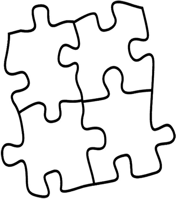 Puzzles, : Four Puzzles Pieces Coloring Page