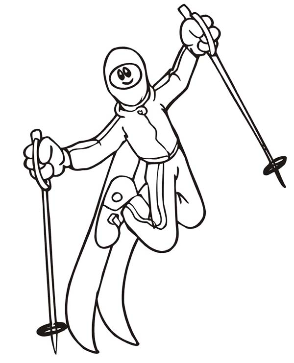 Skiing, : Freestyle Skiing Competition Coloring Page