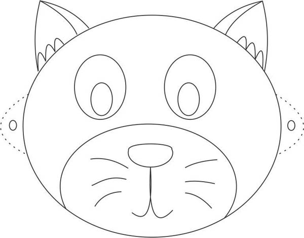 Funny cat mask coloring page coloring sky - Masques de chats a imprimer ...