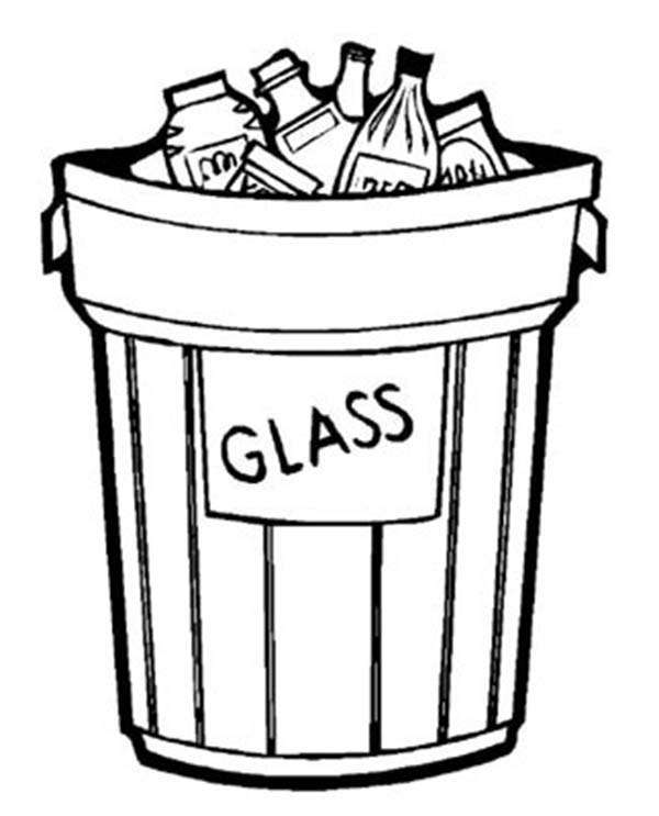Recycling, : Garbage Can Glass Only for Recycling Coloring Page