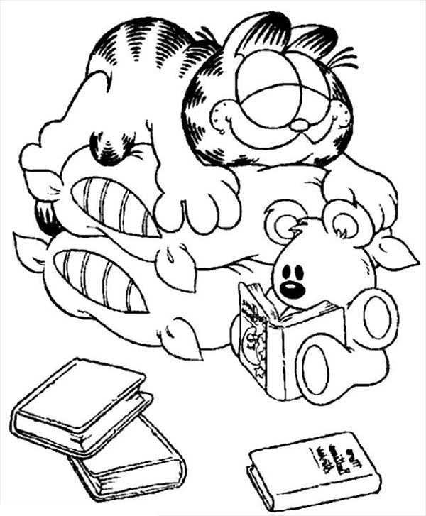 Silly Face, : Garfield Made Silly Face When He Sleep Coloring Page