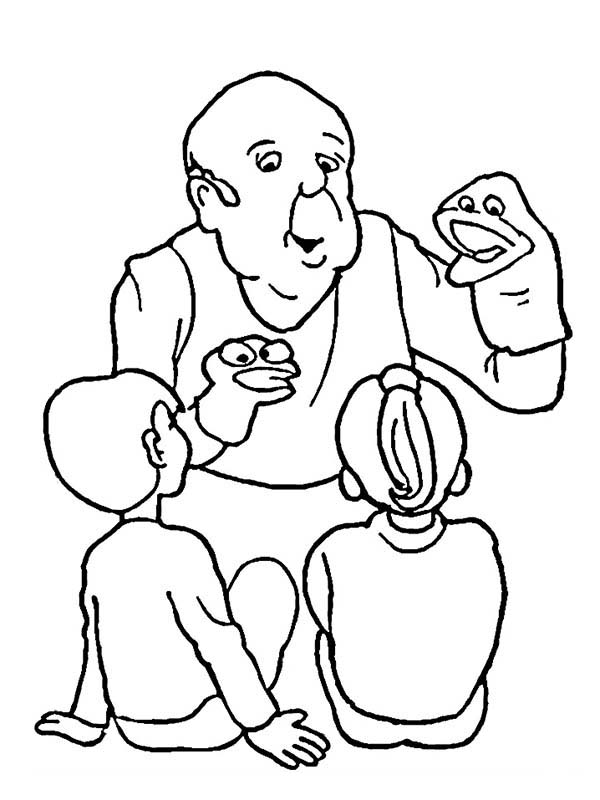 Puppet, : Grandpa Playing Puppet for His Grandchild Coloring Page