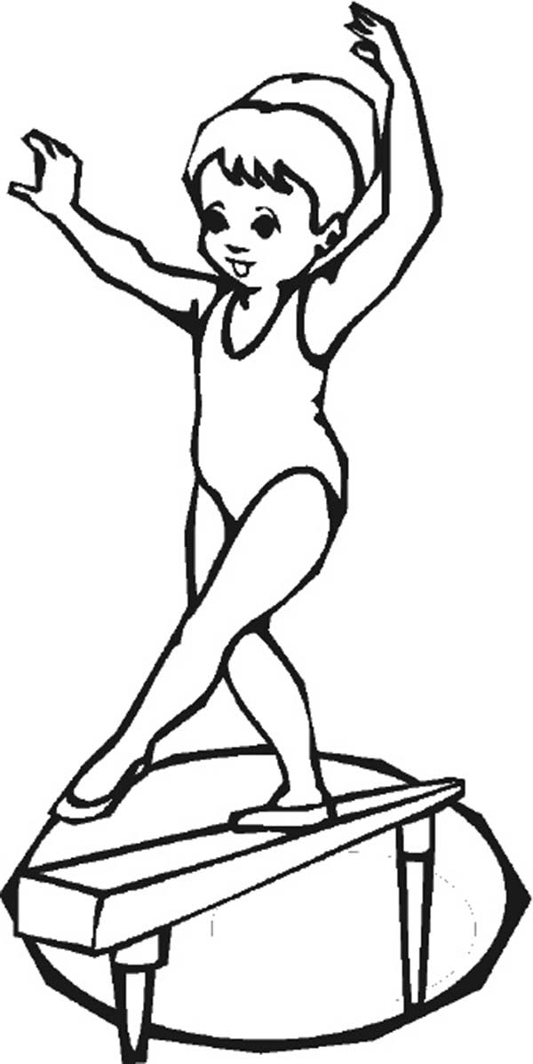 Gymnastics Balancing Woman Olympic Games Coloring Page