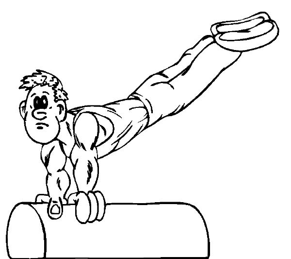 Olympic Games, : Gymnastics on Pommel Horse Olympic Games Coloring Page