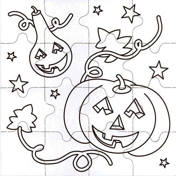 Puzzles, : Halloween Theme Jigsaw Puzzles Coloring Page