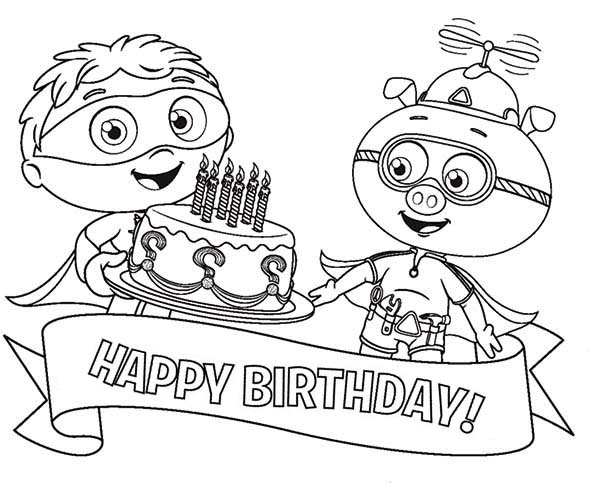 Superwhy, : Happy Birthday Big Cake for Alpha Pig from Whyatt in Superwhy Coloring Page