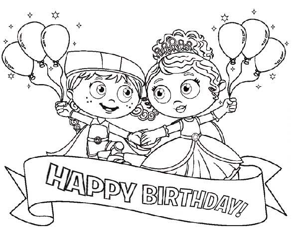 Superwhy, : Happy Birthday Princess Pea and Little Red Riding Hood in Superwhy Coloring Page