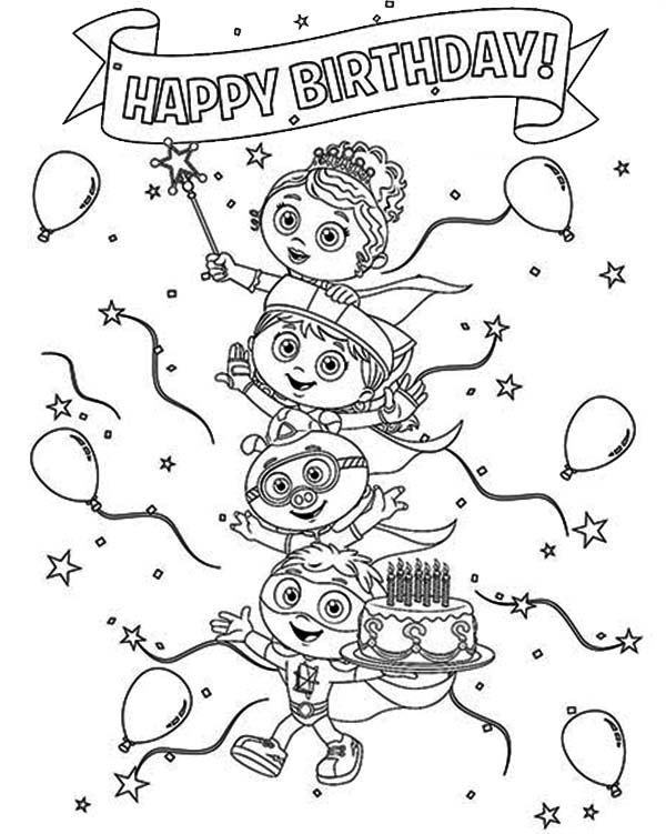 Superwhy, : Happy Birthday Superwhy Coloring Page