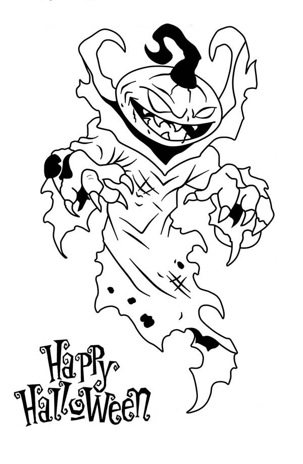Scary, : Happy Halloween from Scary Pumpkin Coloring Page