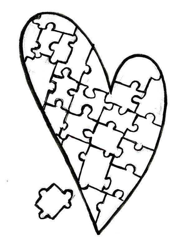Puzzles, : Heart Shaped Puzzles Coloring Page