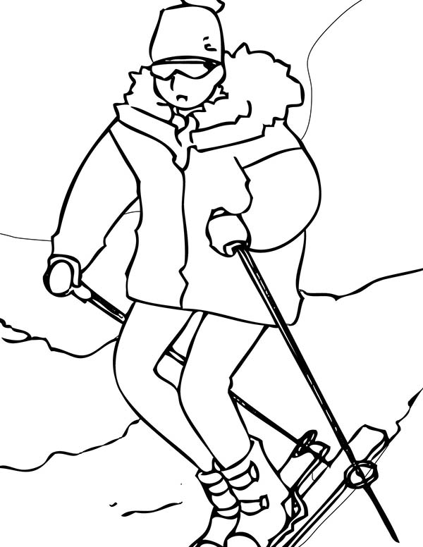 Skiing, : Hike to Skiing Start Point Coloring Page