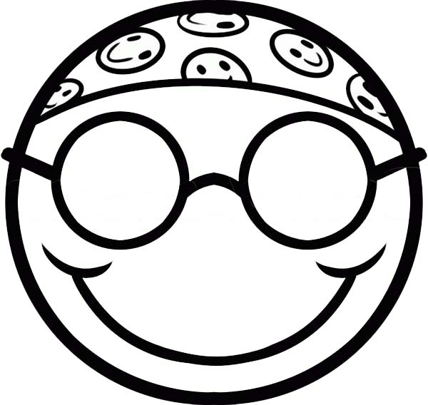 Silly Face, : Hippie Smiley Silly Face Coloring Page