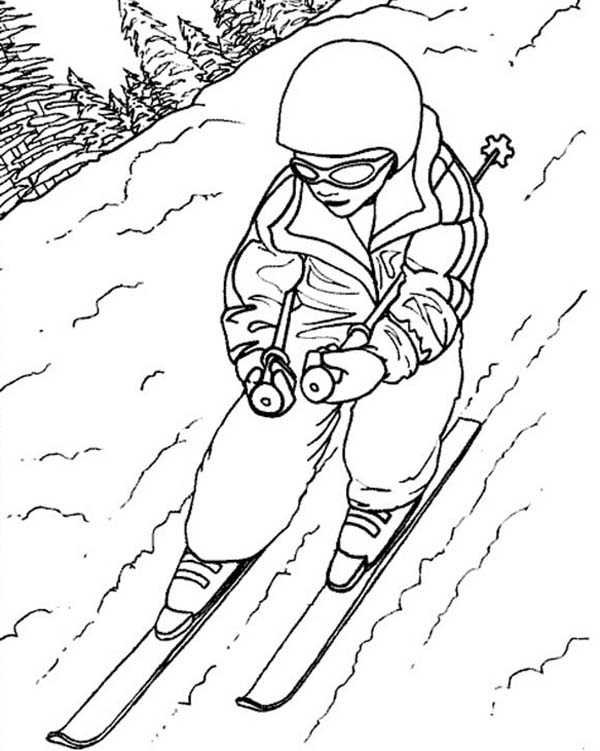 Skiing, : How to Draw People Skiing Coloring Page