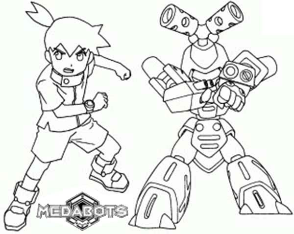 Medabots, : Ikki and Metabe from Medabots Coloring Page
