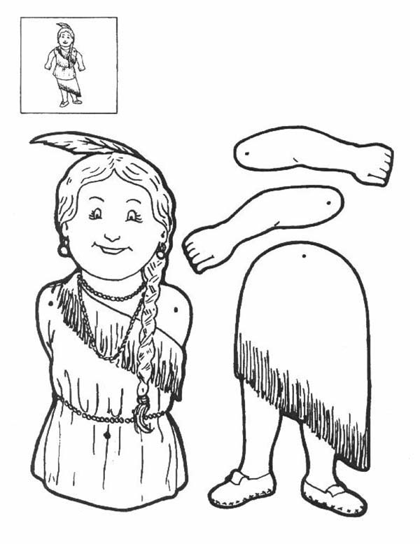 Puppet, : Indian Maiden Puppet Part Coloring Page