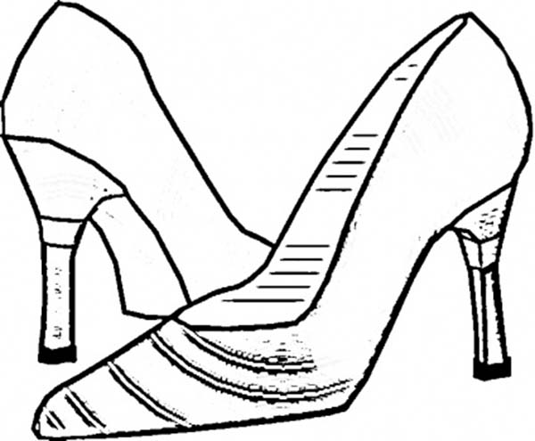 Shoes, : Italian Woman Shoes Coloring Page