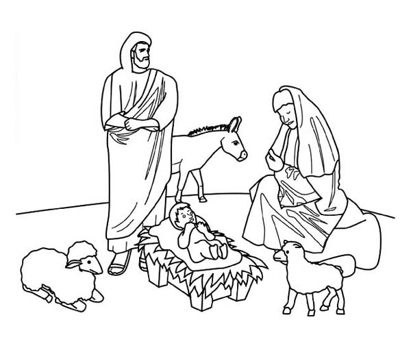 Christmas, : Jesus Nativity Scene on Christmas Coloring Page