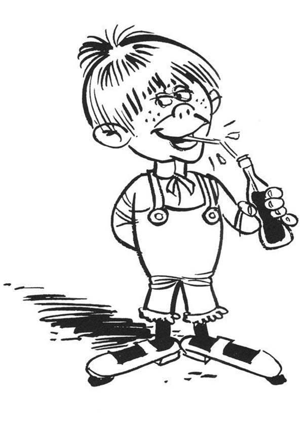 Lucky Luke, : Kid Drink a Bottle of Coke in Lucky Luke Coloring Page