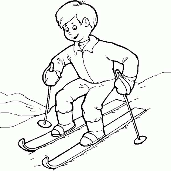 Skiing, : Kid Learn to Skiing Coloring Page