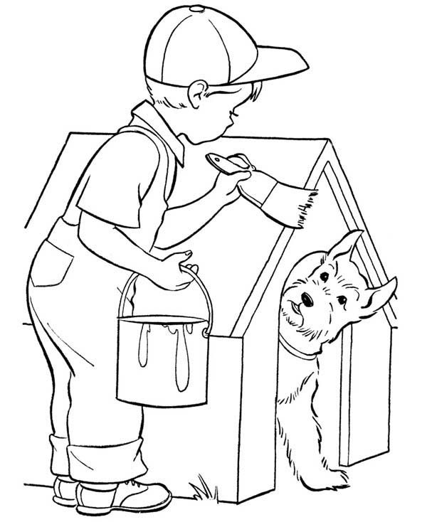 Paint, : Kid Paint His Dog House Coloring Page