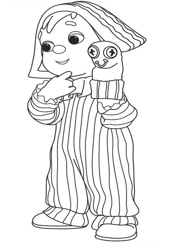 Puppet, : Kid Playing Glove Puppet Coloring Page